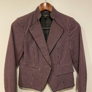 Vertical Striped Cropped Lined Blazer w/ Pockets